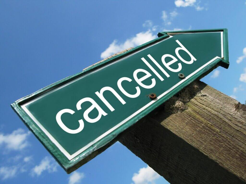 sign saying cancelled reflecting increase in hotel cancellation policies