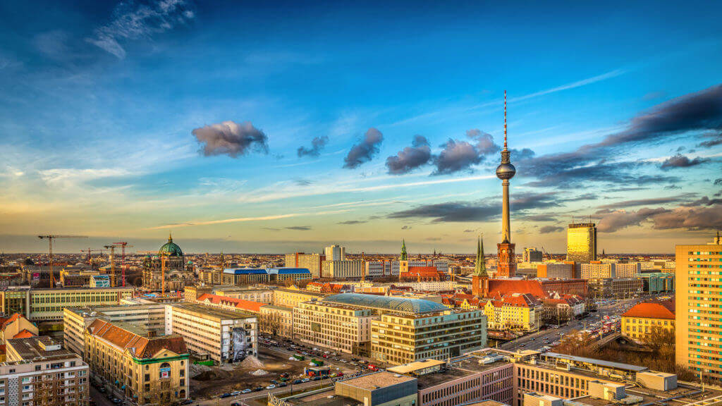 berlin skyline with office and hotel buildings