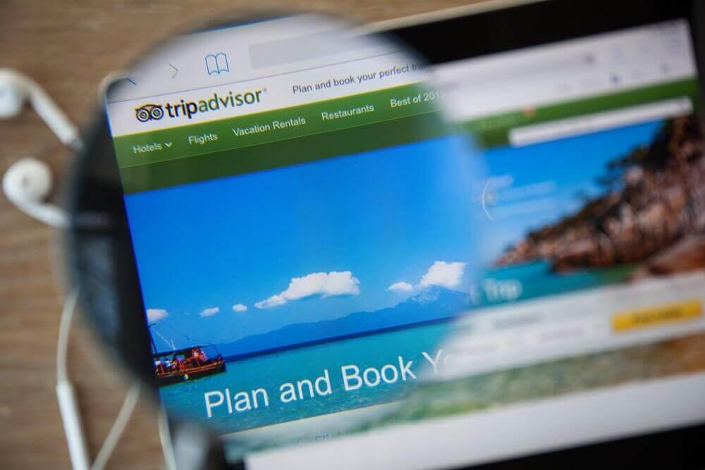 laptop screen showing tripadvisor website