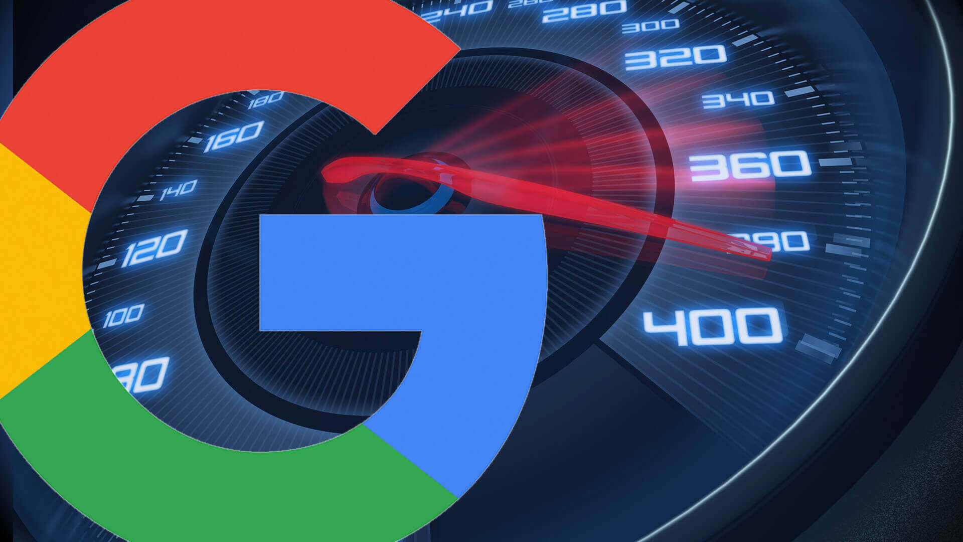 google logo with speedometer behind it
