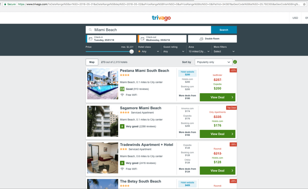 trivago filters top of page