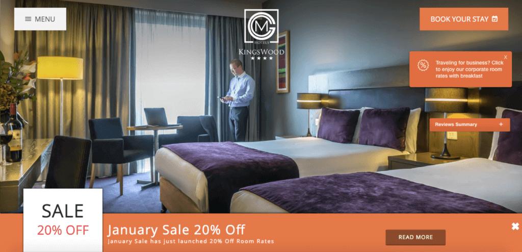 kingswood hotel website offer