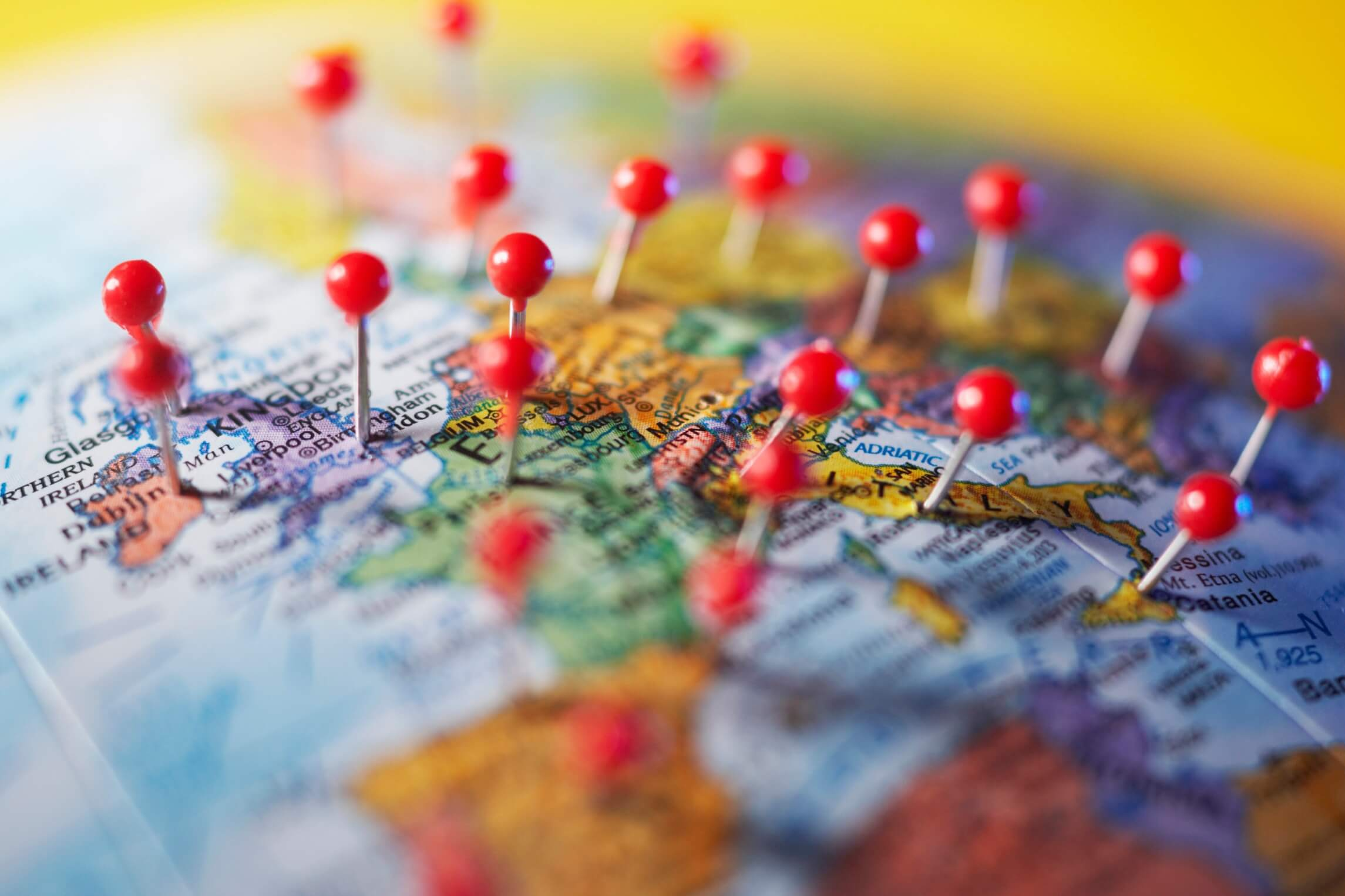 map europe with pins to show hotel and travel demand
