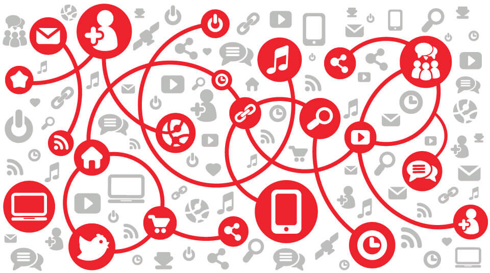 different icons depicting different ways consumers interact in an omnichannel marketplace
