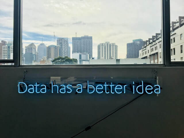 neon sign with the word data emphasising its importance in hospitality technology trends