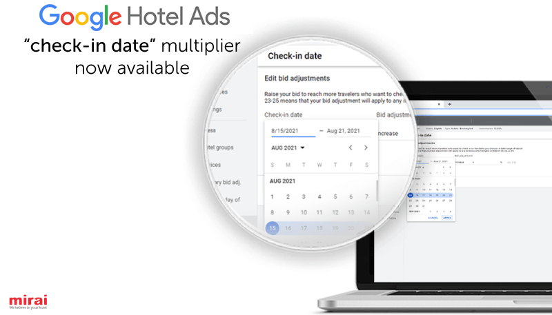 """mirai article image Google Hotel Ads: Much Anticipated """"check-in date"""" Multiplier Now Live"""
